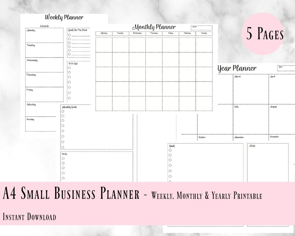 small business planner printable weekly monthly yearly planner